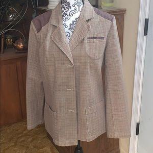 INC SAG HARBOR houndstooth plaid blazer/jacket